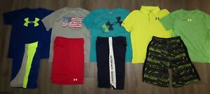 Lot 9 Boy's UNDER ARMOUR Polo Loose Shirts Athletic Shorts size YLG Large 1416