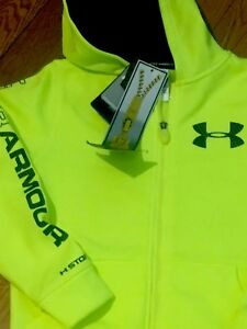NWT UNDER ARMOUR YOUTH BOYS SMALL (8-10) BIG ARMOUR LOGO ZipUp Hoodie SWEATSHIRT