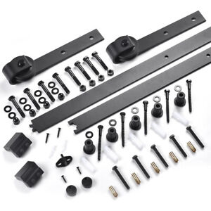 6 FT Carbon Steel Sliding Barn Wood Door Hardware Track Roller Kit Set Black