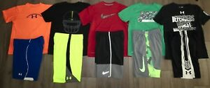 Lot 10 Boy's UNDER ARMOUR NIKE Loose Football Shirts Athletic Shorts YLG Large