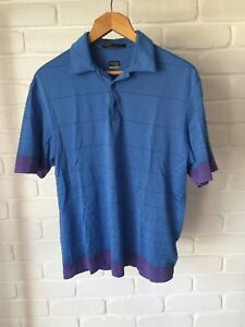 Tiger Woods Nike Fit Dry Polo Shirt Casual Short Sleeve Blue & Purple Size M