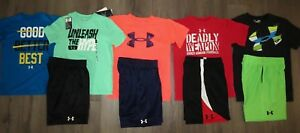Lot 9 Boy's UNDER ARMOUR Loose Shirts Athletic Shorts Sets YSM Small 8 1 NWT
