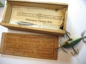 Shakespeare Old wood fishing lure in wood box glass eyes + paper