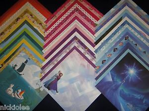 Disney Frozen Theme 12x12 Scrapbook Paper Anna Elsa Olaf 50 Wholesale Lot Kit