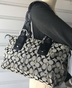 Coach Soho Black-Gray Leather Signature Braided Straps Shoulder Bag Satchel.