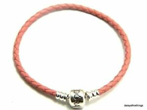 AUTHENTIC PANDORA BRACELET SINGLE BRAIDED LEATHER PINK  #590705CMP-S3 20.5CM8.1