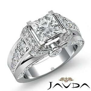 2.31ctw Knot Style Side Stone Princess Diamond Engagement Ring GIA F-SI2 Gold