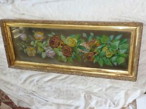ANTIQUE VICTORIAN ROSES FLORAL YARD LONG OIL PAINTING ON BACK GLASS ORNATE FRAME