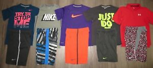 Lot 10 Boy's UNDER ARMOUR NIKE Dri-Fit T-Shirts Polo Athletic Shorts YSM Small 8