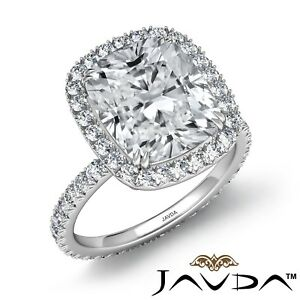 4.55ctw Celebrity Style Cushion Diamond Engagement Ring GIA H-SI1 Platinum Rings