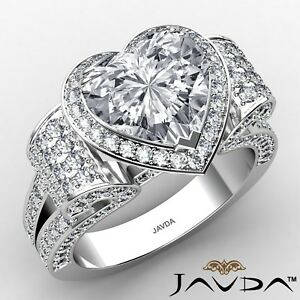 4.64ctw Antique Style Heart Diamond Engagement Ring GIA D-FL Platinum Women New