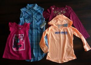LOT OF 4 UNDER ARMOUR GIRLS HOODIE Tommy Bahama TOP Calvin Klein Shirt Dress 7-8