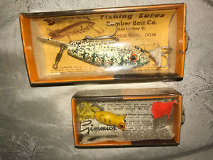 Vintage BOMBER LURES large with glitter and small with tail set of 2 NWB