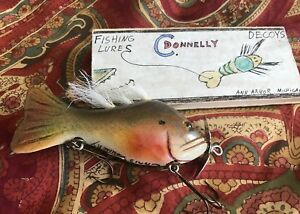 Crazy Vintage Chris Donnelly Fishing Lure Decoy with Wooden Box