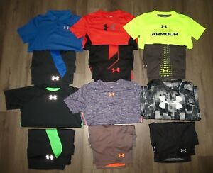Lot 12 Boy's UNDER ARMOUR Polo T-Shirts Athletic Shorts Outfits YLG Large 1416