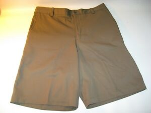 New Nike Golf Fit Dry Tiger Woods Men's Green Flat Front Golf Casual Shorts - 34