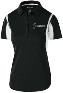 Hammer Women's Taboo Performance Polo Bowling Shirt Dri-Fit Black White