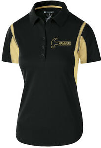 Hammer Women's Taboo Performance Polo Bowling Shirt Dri-Fit Black Gold