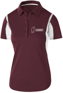 Hammer Women's Taboo Performance Polo Bowling Shirt Dri-Fit Maroon White