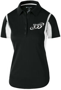 Columbia 300 Women's Nitrous Performance Polo Bowling Shirt Dri-Fit Black White