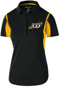 Columbia 300 Women's Nitrous Performance Polo Bowling Shirt Dri-Fit Black Yellow