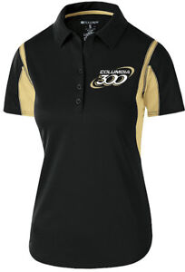 Columbia 300 Women's Nitrous Performance Polo Bowling Shirt Dri-Fit Black Gold