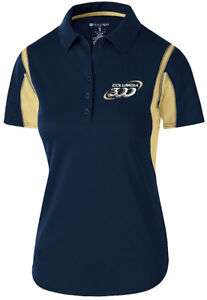 Columbia 300 Women's Nitrous Performance Polo Bowling Shirt Dri-Fit Navy Gold