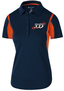 Columbia 300 Women's Nitrous Performance Polo Bowling Shirt Dri-Fit Navy Orange