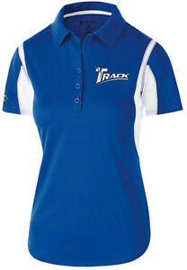 Track Women's Synergy Performance Polo Bowling Shirt Dri-Fit Royal White