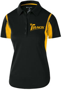 Track Women's Synergy Performance Polo Bowling Shirt Dri-Fit Black Yellow