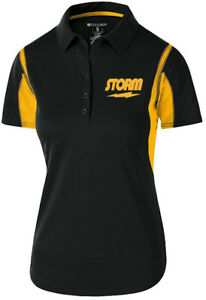 Storm Women's Match Performance Polo Bowling Shirt Dri-Fit Black Yellow