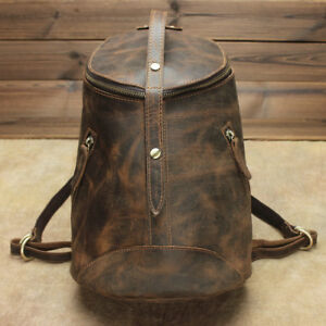 Vintage Cowhide Leather Backpack Bucket Rucksack Travel Bags for Men Women Brown