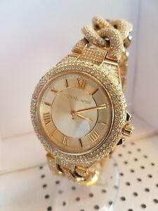 Michael Kors Camille Pavé Analog Bracelet Stainless-Steel Watch MK3820 Gold