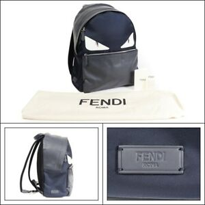 NWT FENDI Rare Blue Monster Eyes Mohawk Fox Fur Leather Backpack Bag Handbag!