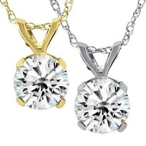 Big .75ct Round Cut Diamond Solitaire Pendant Necklace 14k White or Yellow Gold