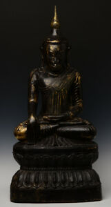 18th Century Shan Antique Burmese Wooden Seated Buddha on Double Lotus Base