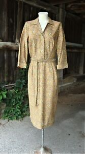 Vtg 1940's 1950's Gold Lurex Paisley Shirt Dress and Belt * Tall * Medium