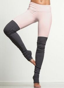 NEW ALO Ribbed Goddess Leggings Pink Cloud / Stormy Heather Gray Size Large