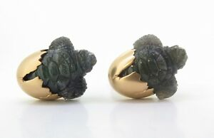 A Fine Pair Of Paul Longmire 18k Rose Gold Carved Hatching Turtle Cufflinks