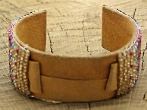Beautiful Vintage NOS Unused Leather and Beaded Cuff Watch Band 16mm Bracelet