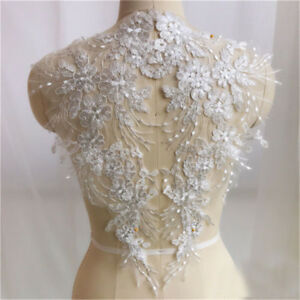 1 Pair DIY Lace Applique Trim Embroidery Sewing Motif Wedding Bridal Crafts