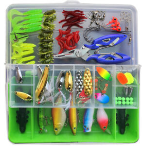 Fishing Lures Set Mixed Minnow Popper Box Spinner Spoon Cebo Grips Hook USstock