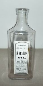CENTRALIA PA GEO. W. DAVIS DRUGGIST SUPERIOR SEWING MACHINE OIL BOTTLE $35.00