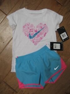 NWT Nike SHORTS & TEE T- SHIRT TOP SET Dri-Fit GIRLS Athletic Size 4 msrp $43