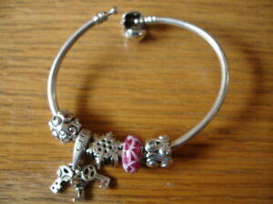 CHAMILIA CHARM BRACELET W 6 ASSORTED CHARMS & 1 BEAD STERLING SILVER NEW & PO