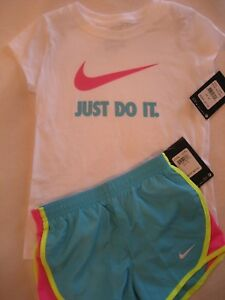 NWT Nike SHORTS & TEE T- SHIRT TOP SET Dri-Fit GIRLS Athletic Size 6X