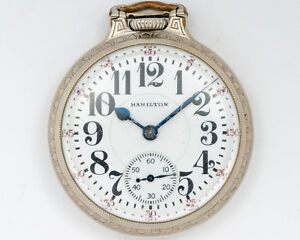 NICE Hamilton 992 Pocketwatch! 21J Adj. in White Gold Filled CaseThick Crystal