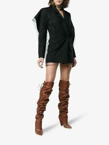 YSL SAINT LAURENT NIKI 105 COCOA LEATHER THIGH HIGH BOOTS