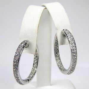 Pair of Double Row Diamond Hoop Earrings 18 kt White Gold #9406
