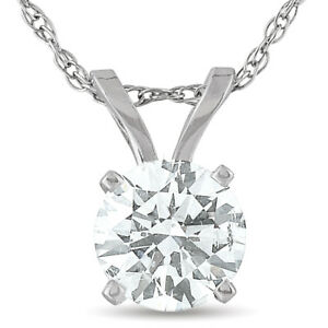 GSI .50 Ct Diamond Solitaire Lab Grown Pendant 14K White Gold